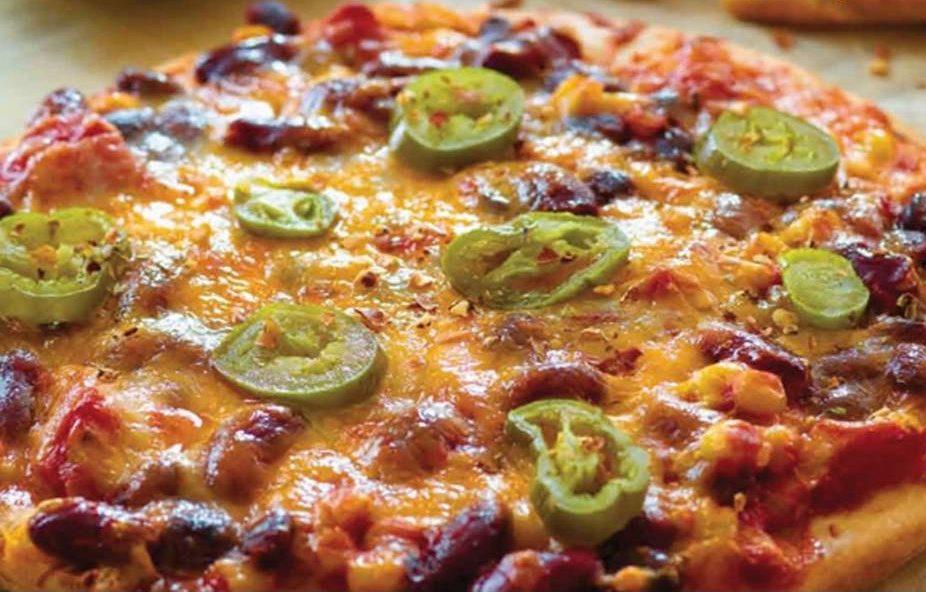 Pizza mexicana con frijoles